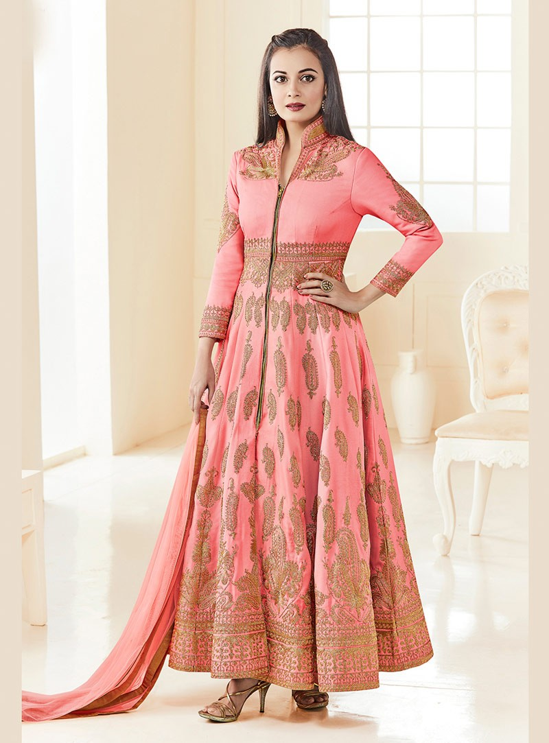 blezzclick's Pink Banglory Silk Heavy Embroidered Salwar suiit