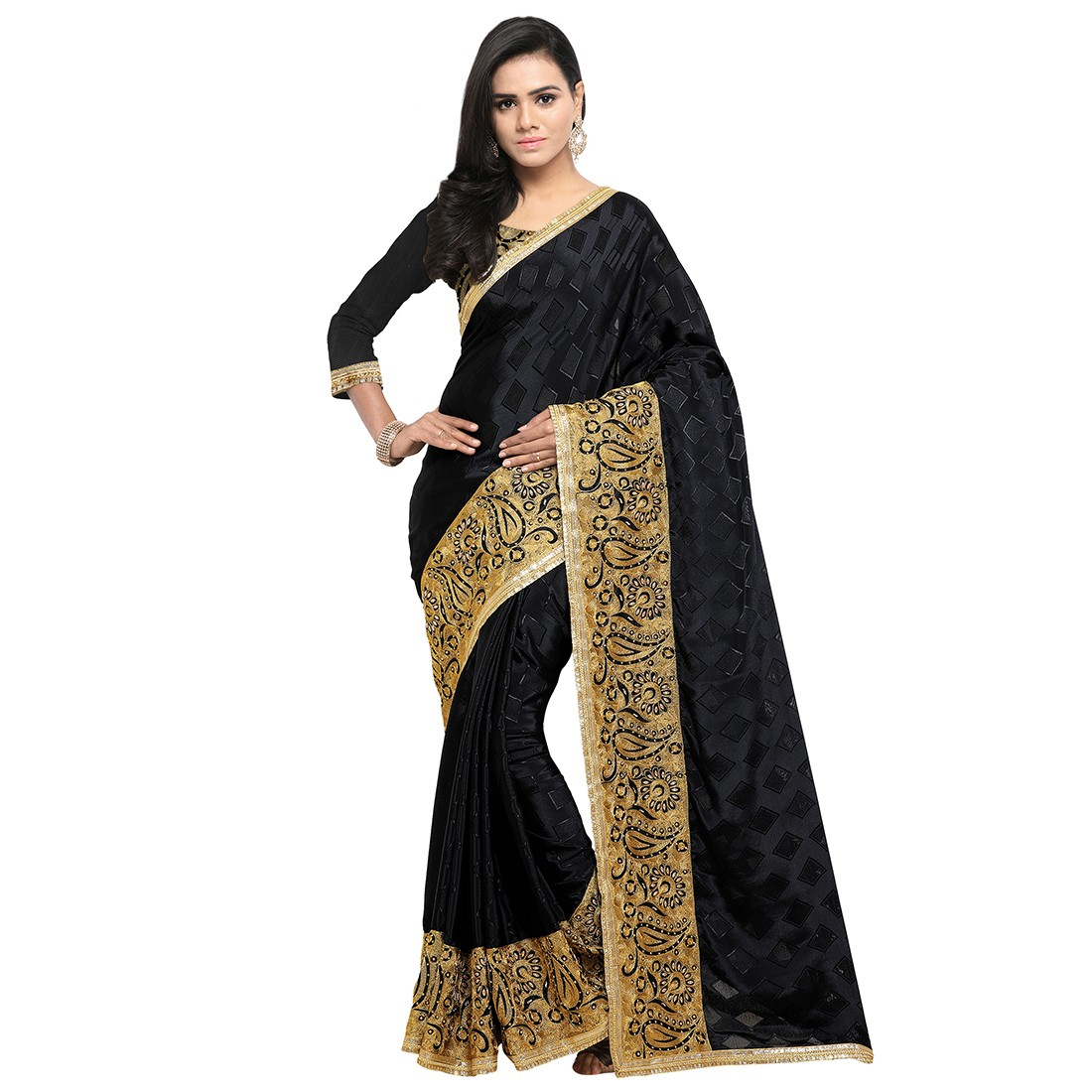 blezzclick's Blackcolor Tarki Silk Aari Embroidered Saree with unstiched blouse