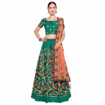Blezzclick's Green Bhagalpuri silk Embroidered Lehenga Choli