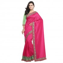 blezzclick's PinkcolorSilk Aari EmbroideredSarees with unstiched blouse