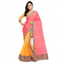 blezzclick's Pink & OrangecolorSilk Aari EmbroideredSarees with unstiched blouse