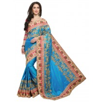 Blezzclick's Tourquise color Silk Saree with unstiched blouse