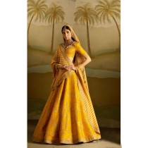 Blezzclick's Mustard Silk Heavy Embroidered Lehenga Choli